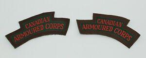 WW2 CANADIAN ARMOURED CORPS REGIMENT SHOULDER FLASH PAIR