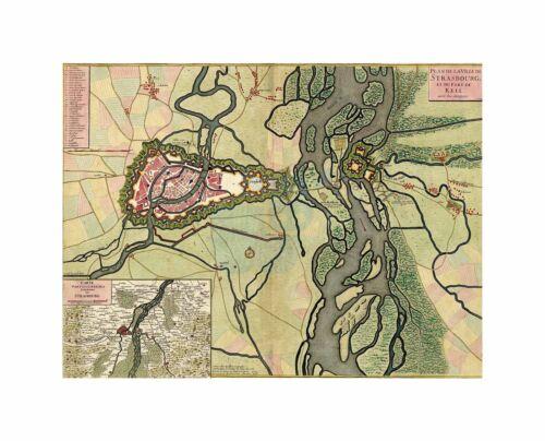Map Old Vintage Strasbourg France River City Inset Canvas Print