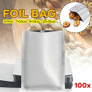 100x Silber Aluminiumfolie Mylar Bag Vakuumbeutel Sealer Zip-Food-Paket WRDE VE