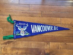 Vtg-Vancouver-British-Columbia-Mini-Pennant-Felt-Banner-1960-039-s-Canada-Souvenir