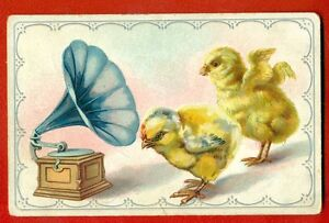 PHONOGRAPH-GRAMOPHONE-AND-CHICKEN-VINTAGE-EMBOSSED-POSTCARD-USED-725