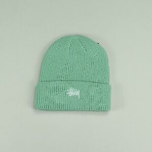 7024c64fdf1 Image is loading Stussy-Basic-Embroidered-Cuff-Beanie-Hat-Mint-Green-
