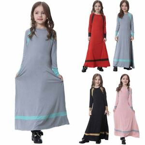58cd88e4a Muslim Girls Milk Silk Long Dress Kid Abaya Burka Arab Prayer Maxi ...