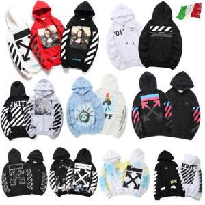 Uomo-Off-White-Felpa-con-cappuccio-Hoodie-Urbano-Abbigliamento-di-strada-Moda-It