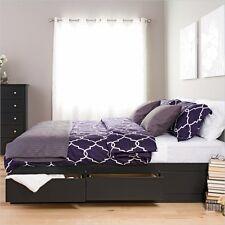 King Platform Storage Bed with 6 Drawers Black Sonoma Bedroom Furniture