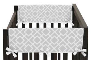 11c32f8ba8a Gray White Diamond Girl Boy Baby Crib Side Rail Guard Cover Teething ...