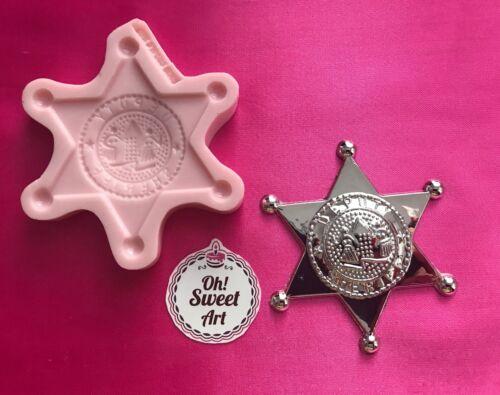 POLICE SHERIFF BADGE HOLDER  silicone mold fondant cake decorating toppers FDA