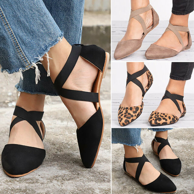 Women's Ankle Strap Ballerina Flats Cross Pointed Toe Casual Sandals Dolly Shoes