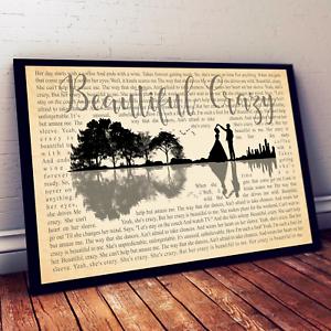 Luke Combs Beautiful Crazy Song Music Lyric Art Print Wall Decor Poster No Frame