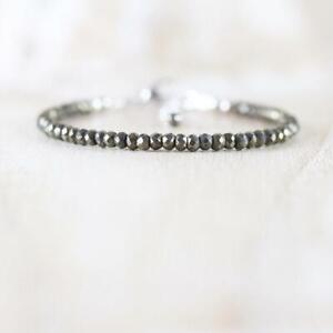 "New Arrival Pyrite Gemstone 3mm Rondelle Faceted Women Jewelery Bracelet 7"""