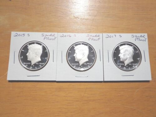 2015 S 2016 S 2017 S Silver Proof Kennedy Half Dollar 3 Coin Lot Set