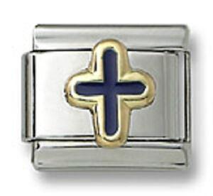 Italian-Charm-Religious-Cross-Stainless-Steel-Blue-Enamel-9-mm-Link-Bracelet-New