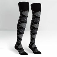 Over The Knee Socks Black & Grey Argyle Women's Sock Size 9-11 Sitm