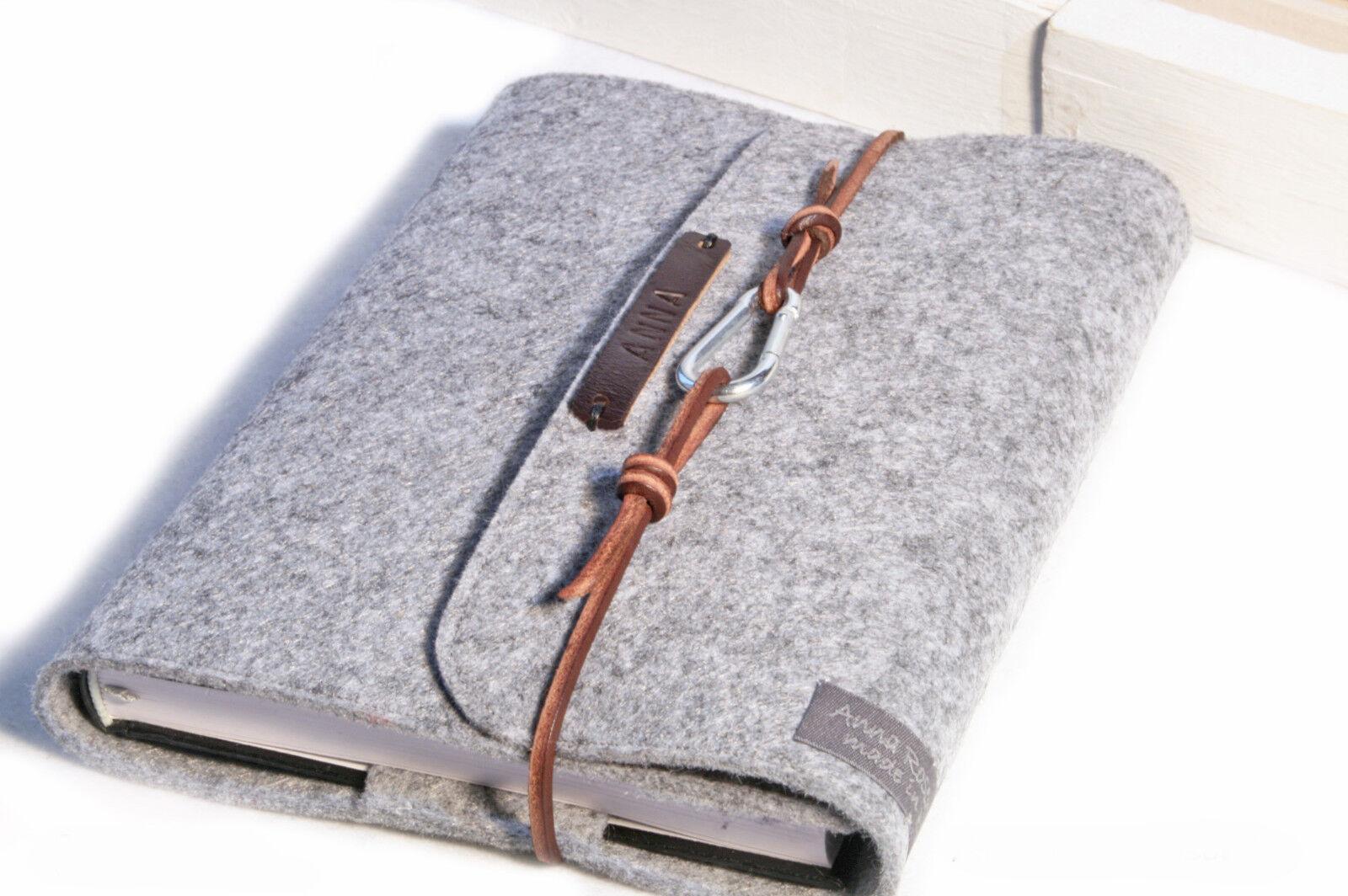 Kalender Notizbuch Hülle PERSONALISIERT A5 grau Filz Leder Geschenk Frau Mann | Modern Und Elegant  | Charakteristisch  | Zuverlässige Qualität