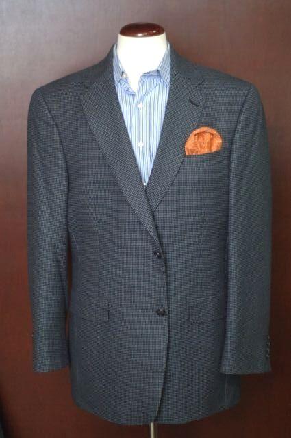 Hart Schaffner Marx Men's Navy bluee Dobby Weave Wool Sport Coat Blazer 44L 44 L