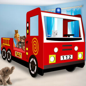 Kinderbett Autobett Jugend Bett Kinderzimmer Juniorbett Feuerwehrbett 90x200 rot