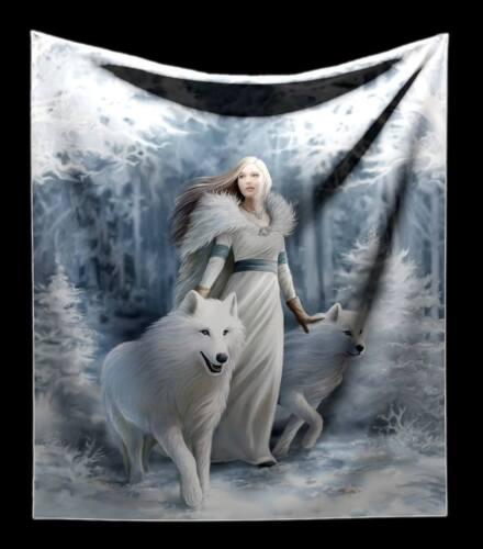 Plaid couverture avec Wolf-hiver Guardian-FANTASY GOTHIQUE DECO by Anne Stokes
