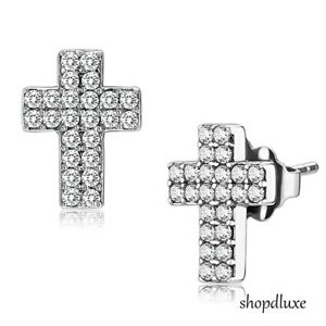 WOMEN-039-S-PAVE-ROUND-BRILLIANT-CUT-CZ-CROSS-STAINLESS-STEEL-STUD-FASHION-EARRINGS