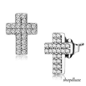 WOMEN-039-S-PAVE-ROUND-CUT-AAA-CZ-HOLY-CROSS-STAINLESS-STEEL-STUD-FASHION-EARRINGS
