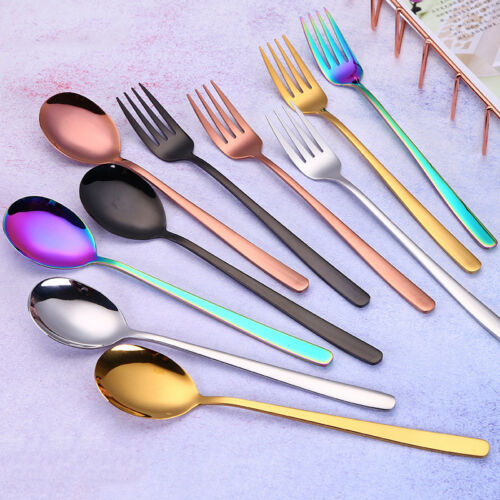 New Teaspoons Stainless Steel Spoons Coffee Tea Spoon Teaspoon  Colors