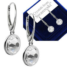 73e794745 925 Sterling Silver Drop Dangle Earrings Leverback 7mm Crystals from  Swarovski®
