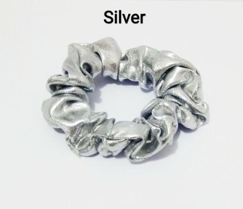 SILVER /& GOLD SHINY FABRIC ELASTIC BOBBLE HAIR SCRUNCHIES PONYTAIL HOLDER PONIO