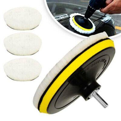 5pcs 1//4 Buffing Polishing Pads Wool Wheel Mop Kit For Car Polisher Drill Tools