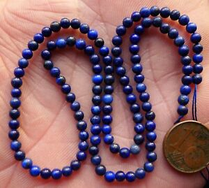 38cm-Perles-Lapis-Lazuli-Pierre-Naturelle-Natural-Stone-Beads-Strand-Afghanistan