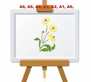 Daisy-Marguerite-Flowers-amp-Leaves-Stencil-350-micron-Mylar-not-thin-stuff-FL038
