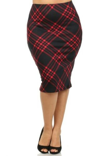 Womens XL//1XL,2XL,3XL Red Or Blue Argyle Print High Waist Mid-Calf Pencil Skirt