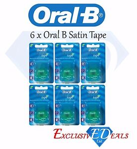 Confezione-da-6-x-Oral-B-FILO-Interdentale-Satin-Tape-sapore-di-menta