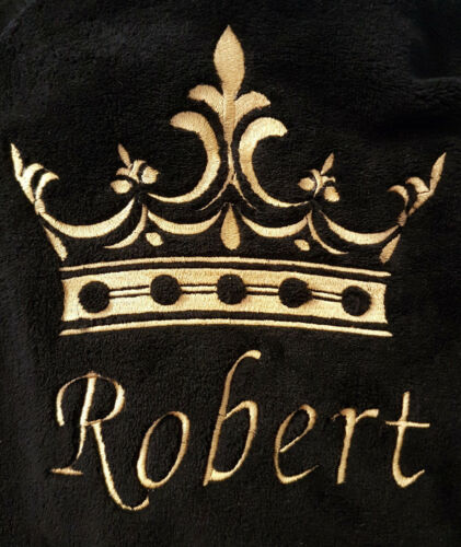 Mens Personalised Crown Black Fleece Dressing Gown Robe Mens Xmas Gift Med 5XL