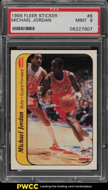 1986 Fleer Sticker Michael Jordan ROOKIE RC #8 PSA 9 MINT