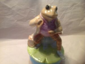 Vintage /'77 SCHMID Beatrix Potter MR JEREMY FISHER Fishing FROG Music Box Figure