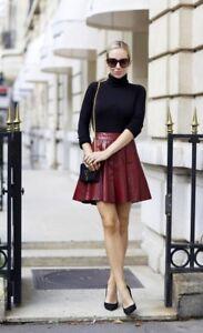 e59af1a5e Alice + Olivia Box Pleat Red Leather Mini Skirt Size 0 NWOT   eBay