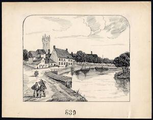 Antique Drawing-sluis-netherlands-item 839-gerard Claes-1900 Art