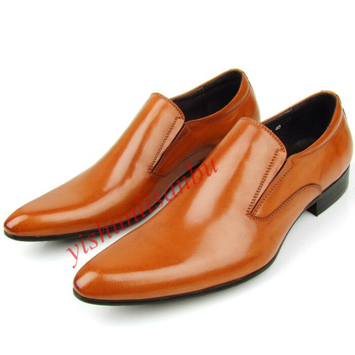 Uomo British Pull on Cow Pelle Business Dress Formal Shoes Pointed Toe Hot 18