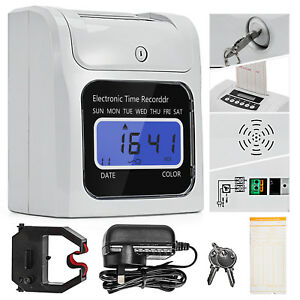 Details about Attendance Clock Digital Time Recorder Punch Card Machine +  Free Card Slot Racks