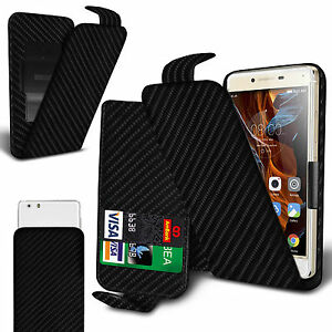 new style bc153 a2829 Details about For Gionee Pioneer P5L - Black Carbon Fibre Clip On Flip Case  Cover
