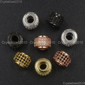 Zircon-Gemstone-Pave-3-Rows-Rondelle-7x9mm-Spacer-Connector-Charm-Beads-Silver