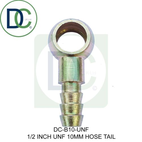 """Banjo Fitting 1//2/"""" UNF X 10mm Hose Tail fitting for Diesel Petrol and Oil Etc."""