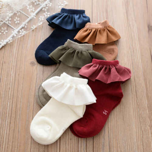 Women Vintage Lace Ruffle Frilly Ankle Sock Cotton Socks Sweet Ladies Gift LD