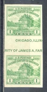 US-Stamp-L1742-Scott-766-Mint-LH-Nice-Imperf-Horizontal-Gutter-Pair