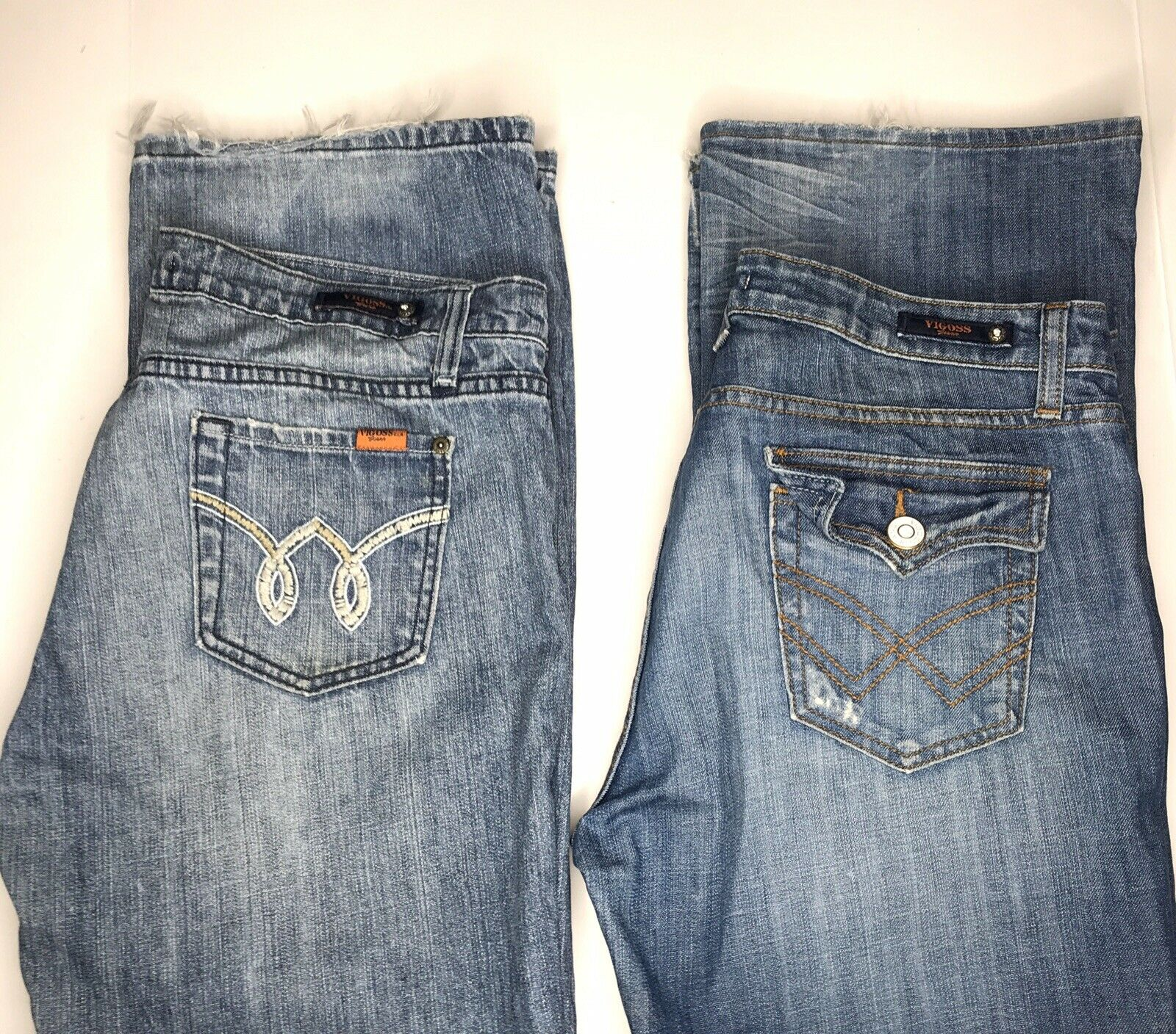Vigoss Jeans Women's 17 Straight Leg Stretch Distressed Embroidery Flap Lot Of 2