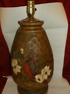 LARGE HEAVY HAND CARVED SOLID WOOD TABLE LAMP SIGNED S. BRIMELL 1989 CABIN DECOR