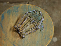 Nickel Wire Bulb Cage, Clamp On Lamp Guard, Vintage Trouble Lights - Industrial
