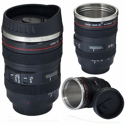 Camera Lens Cup 24-105 Coffee Tea Travel Mug Stainless Steel Thermos & Lens Lid
