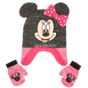 Disney Minnie Mouse Girl Grey Pink 3D Ear Winter Earflap Ski Hat Cap ... 80e6ab5b44f1