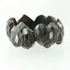 New-Heart-Bangle-Bracelet-Mother-of-Pearl-Chunky-Statement-8-034-Hammered