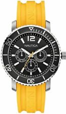 Nautica N16643G Mens Sport Watch Black Face Yellow Resin Strap Day Date 24 Hour